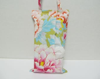 Hanging Tissue Box Cover Foe Skinny Kleenex/Peony