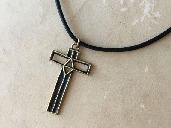 Leather Cross Necklace | Symbolic Jewelry | Christian Gifts