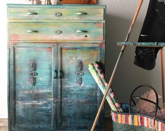 SOLD Monet Vintage Hand Painted Dresser