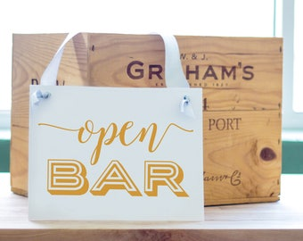Open Bar Sign | Banner for Wedding Reception, Bridal Shower, Corporate Event or Party | Bar Signage | 1472 BW