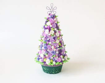Lilac Christmas tree with roses and baubles for 1:12 scale dollhouse