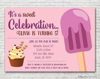 Popsicle Birthday Celebration Invitation - Printable or Printed (w/ FREE Envelopes)