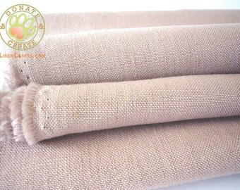 Linen fabric remnants Sale! European linen flax fabric off-cuts for DIY sewing projects; Silky softened blush rose color pure linen fabrics