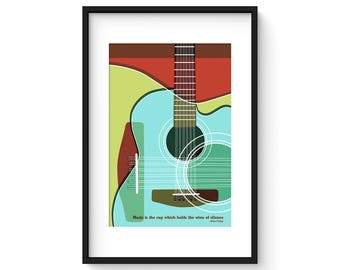 Music Is The Cup Which Holds The Wine Of Silence - Giclee Print - Modernist Minimalist Guitar Art Illustration