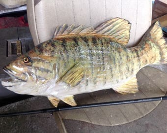 """Small Mouth Bass 24"""" chainsaw wood carving sport fishing lake lodge fish wall mount home decor sculpture indoor/ourdoor hand painted art"""