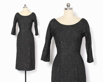 Vintage 60s LUREX Dress / 1960s Black & Metallic Silver Fitted Cocktail Wiggle Dress S
