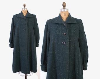 Vintage 50s Wool COAT / 1950s Dark Teal Confetti Tweed Swing Coat L