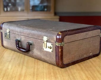 Vintage Tweed Suitcase with Leather Trim and Leather Handle