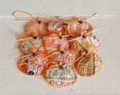 Set of 10 small vintage quilt pumpkin gift tags, autumn fall decor, halloween gifts, thanksgiving, bowl filler, fabric pumpkin