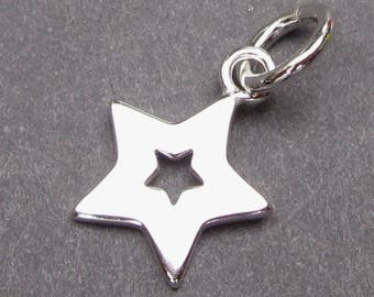 Sterling Silver Star Charm, Sterling Silver Tag, Star Pendant, Bracelet Charm, Necklace Charm with Sterling Silver Jump Ring