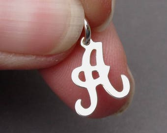 Letter A Sterling Silver Charm, Initial Charm, Personalized Pendant Charm, Silver Charm, Bracelet Charm, Necklace Pendant