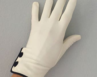 1960s Nylon White Gloves With Black Piping