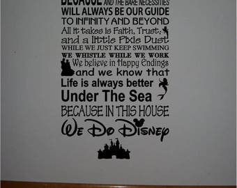 ON SALE Beautiful DISNEY Style 2 famous movie quotes vinyl subway art 10x22 sign -In this house We do Disney...Style 1
