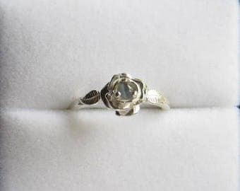 Summer time Sale Event Sweet Rose Ring Sterling Silver Color Change Blue to Green Alexandrite Sapphire White Topaz size 3 4 5 6 7 8 9 10 11