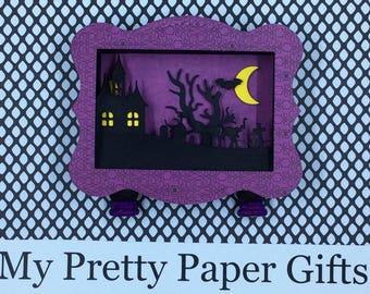 Halloween Shadow Box, Halloween Diorama, Halloween Decoration, Halloween 3D, Haunted House, Cemetery,Full Moon , Black Cat, Bat, OOAK