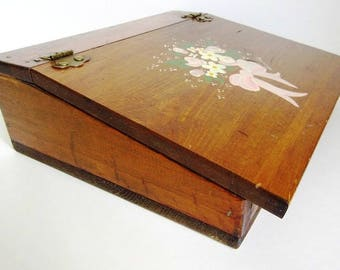 Wood Slant Top Lap Desk With Storage, Vintage Hand Painted Daisy U0026 Ribbon