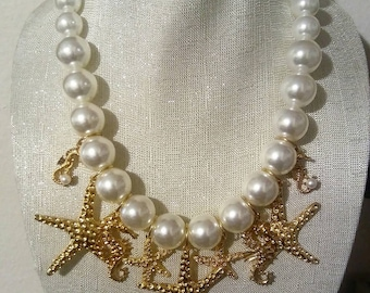 Gold Starfish & Seahorse White Pearl Mermaid Necklace