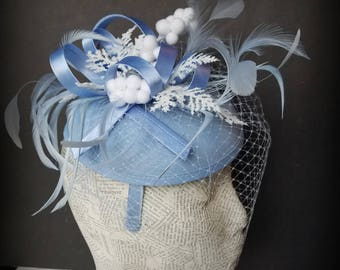 Frosty Winter Fascinator Hat:  Holiday Fashion Hat for Christmas, Church, Derby, New Years