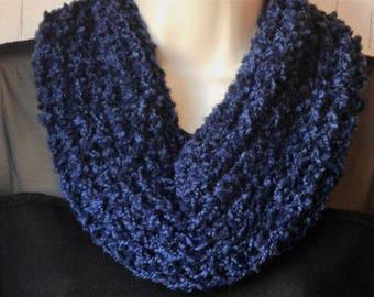 SALE ***  Dark Blue Knit Cowl,  Women's Fashion Scarf, Blue Knit Neckwarmer, Boucle Knit Cowl,