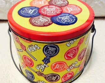 Vintage Tootsie Roll Pop Tin Box Sucker Lollipop Pail Handle Bucket Advertising