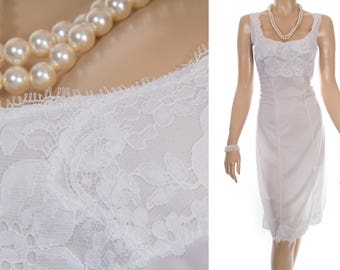 Glamorous 'Charmor' glossy incredibly silky soft bridal white nylon and delicate floral lace detail 70's vintage full slip - PL1849