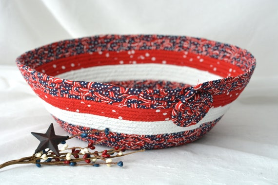 4th of July Basket, Handmade Red White and Blue Party Bowl, Chip Bowl, Picnic Fabric Basket, Gift Basket, Patriotic Decoration