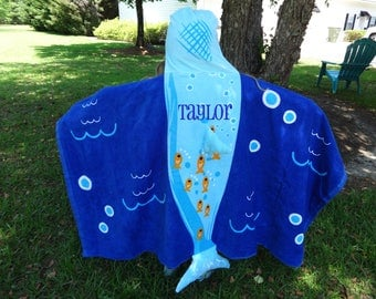 Personalized  Hooded Beach Towel,  Whale Hooded Towel, Beach Towel,  Pool Towel, Beach Coverup