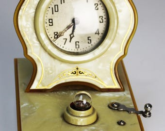 Vintage Celluloid Bedside Clock and Night Light