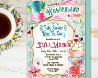 Alice in Wonderland Tea Party Baby Shower Invitation, Mad Hatter Tea Party Baby Shower Printable Invitation 6v.1