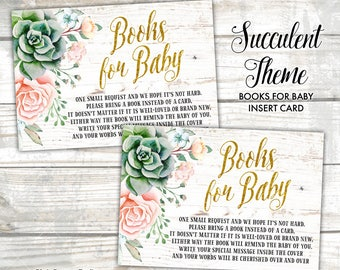 Bring a Book Insert Card Sweet Floral Succulent, Book Request, Books for Baby Card Baby Shower Insert Card Instant Download Print Your Own