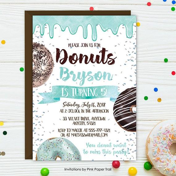 Donuts birthday invitation blue donuts birthday party invite sweet il570xn filmwisefo