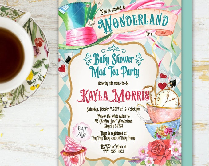 Alice in Wonderland Tea Party Baby Shower Invitation, Mad Hatter Tea Party Baby Shower Printable Invitation 6v.1