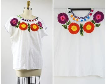 Vintage Mexican Top White Gauze Cotton Blouse Hand Embroidered Multi Color Flowers Large Scale Embroidery  Size Large XL