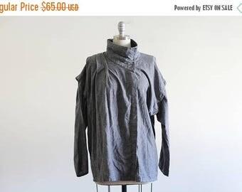25% OFF SALE Vintage Woven Cotton Top with Removable Sleeves / Avant Garde / Cotton Tunic / 80's Vintage / Jag M L Xl