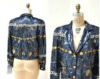 SALE Vintage Sequin Jacket Size Medium in Blue Metallic Gold Silver Sea Nautical Cruise Ship Boat Ocean theme by Modi