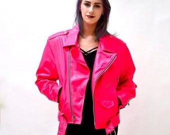 SALE Vintage Leather Motorcycle Jacket Neon PInk by L.A Roxx// 90s Neon pink Leather Jacket Biker la roxx size Large