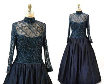 SALE Vintage Bob Mackie Ball Evening Gown Dress Size Large XL Beaded Dress Evening Gown// Vintage Party Dress Evening Gown Navy Blue Metalli