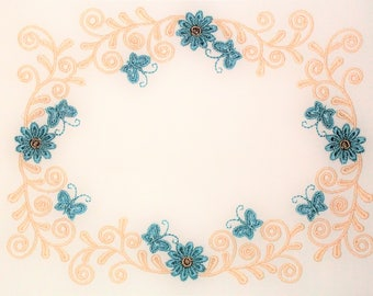 Butterfly and Floral scrollwork embroidered quilt label to customize with your personal message