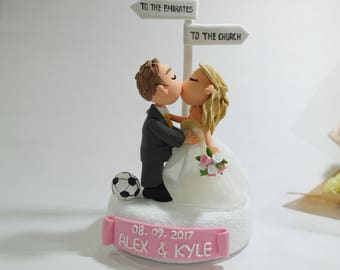 Soccer Football Travel theme wedding cake topper