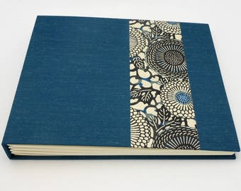 Custom made Photo Album, Blue Mohair with Jumbo Mum Stencil design, Choose Your Size, Personalize it