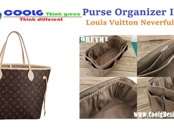 Purse Organizer Insert for Louis Vuitton Neverfull MM, Perfect for unstructured bags / Extra Sturdy / Faux Suede Light Brown