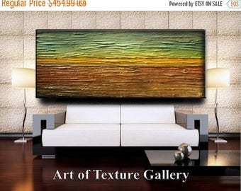 SALE 70 x 28 HUGE Original Abstract Heavy Impasto Texture Gold Burnt Copper Brown Green Modern Oil Painting by Je Hlobik