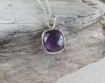 Amethyst necklace. Gemstone necklace, birthstone sterling silver necklace, pendant, charm necklace.