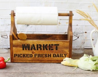 Farmer's Market Farmhouse Wooden Tote with Paper Towel Holder - Handmade Rustic Graphics Kitchen Storage Orgaization One of a Kind