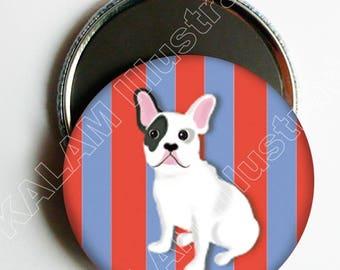 "Magnet ""Bulldog"" striped background, wall decor dog, 5.6 cm"