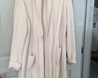 Long sweater duster L/S open front with tie Knee length, ivory