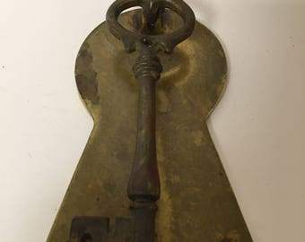 Vintage Brass Key Doorknocker