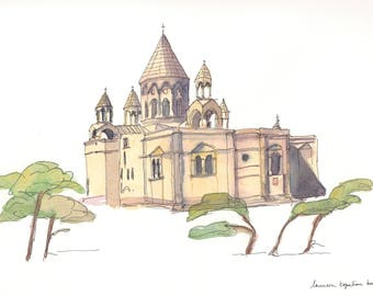 Watercolor - LARGE POSTCARD -Etchmiadzin cathedral-Armenian watercolor-Armenian cathedral-Armenian church