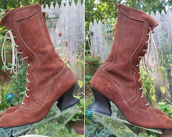 John Fluevog Leather Lace Up Boots Victorian Steampunk Costume Size US 9