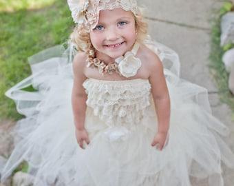 Ivory Flower Girl Tutu by Atutudes Ivory Flowergirl Tutu Ivory Flowergirl Skirt Weddings Ivory Flower Girl Tutu T